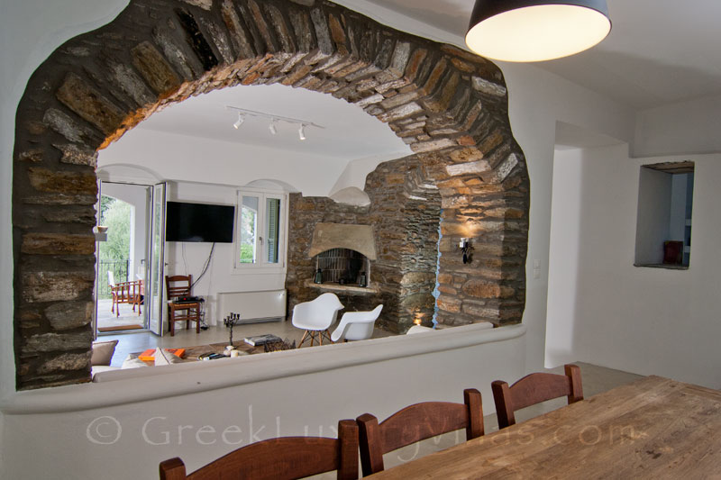 Living Room of Luxury Villa in Andros