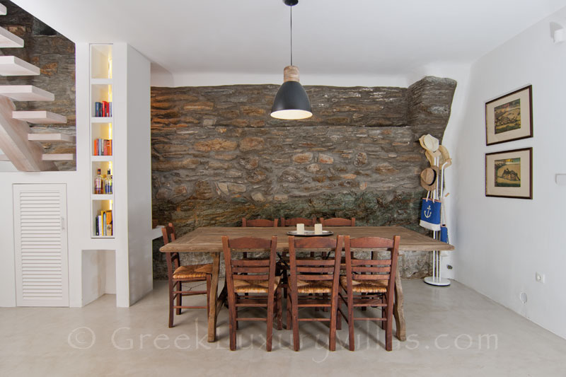 Dining Room of Luxury Villa in Andros