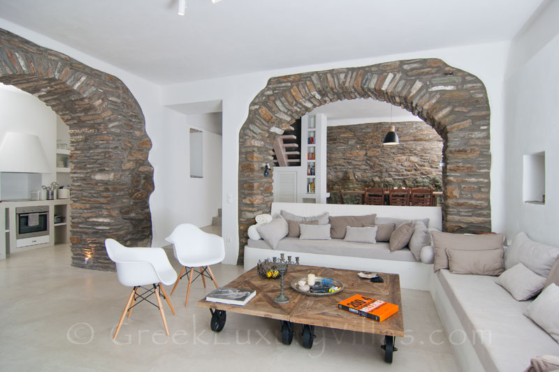 Lounge of Luxury Villa in Andros