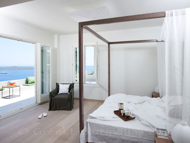 The seaview from the bedroom of a big luxury villa in Elounda, Crete