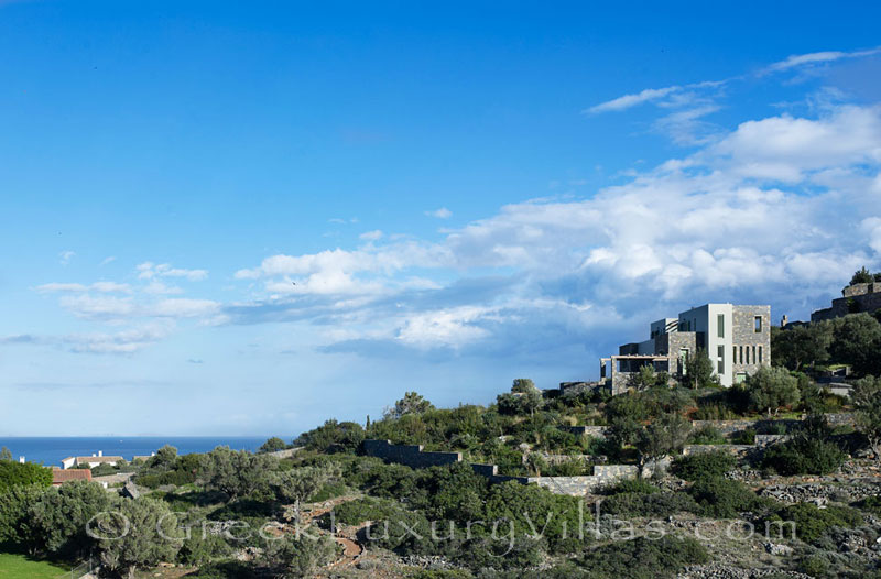 The seaview from the pool of a big luxury villa in Elounda, Crete