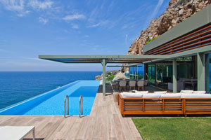 Modern seafront villa overlooking the sea