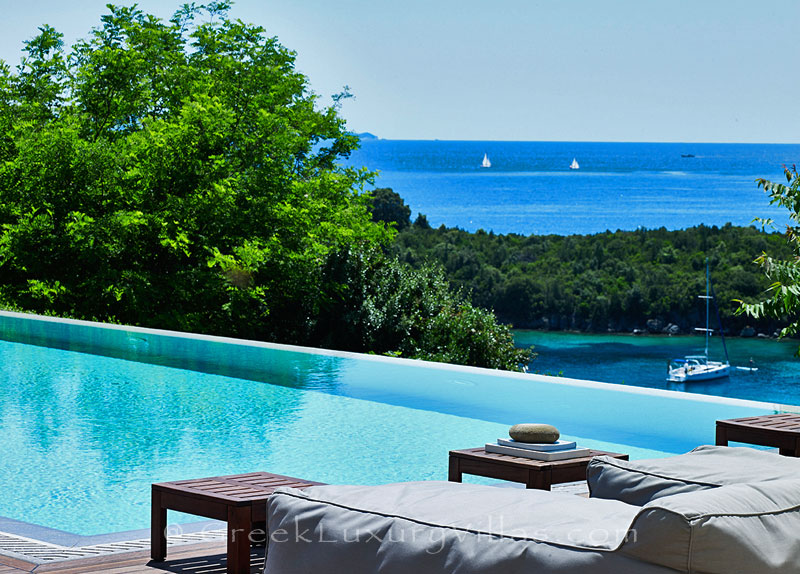 Seaview from a luxury villa with a heated pool in Sivota