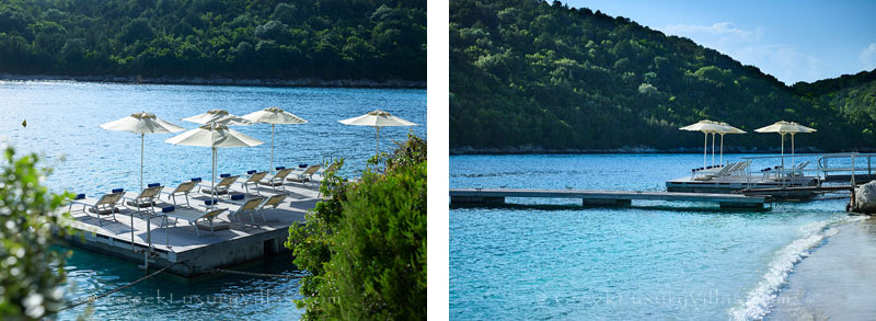The beach near the luxury villa with a heated pool in Sivota