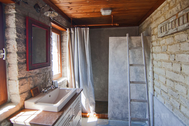 Bathroom of mountain house with view in Zagori
