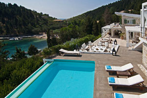Exclusive Seafront Luxury Villa with Jetty and Pool at a unique location on Paxos