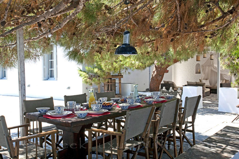 Outdoor dining area of an exquisite traditional villa in Sifnos