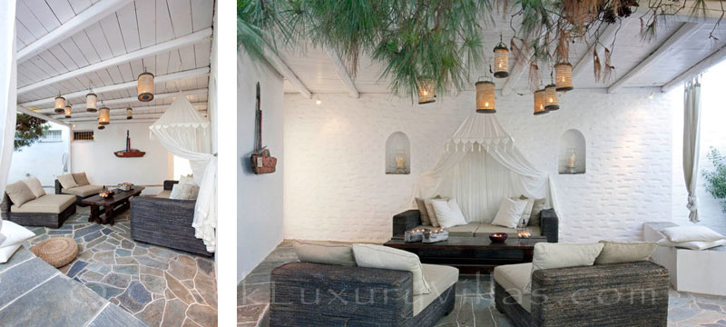 The outdoor lounge of an exquisite traditional villa in Sifnos